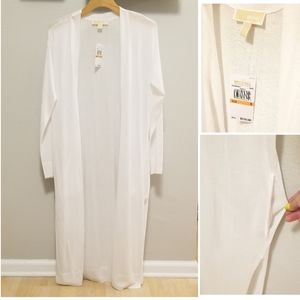 Michael Kors White Long Thin Sweater Duster Pocket
